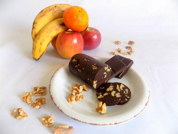 Salami de chocolate saludable y energético. Receta.